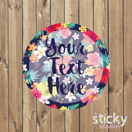 Personalised Customisable Stickers - Tropical Floral Design